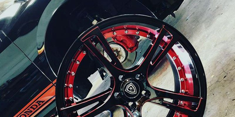 true customs red and black wheels